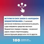 100 главных дел «Единой России». Вступил в силу закон о народном бюджетировании