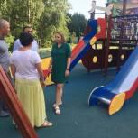Новую детскую площадку в микрорайоне Новая Трехгорка осмотрели одинцовские единороссы