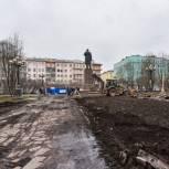 В Мурманске по проекту «Городская среда» реставрируют сквер у памятника Ленину