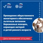 Общественный мониторинг обеспечения питанием беременных женщин, кормящих матерей и детей раннего возраста пройдет с 17 по 24 мая