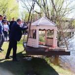 На Ядреевском пруду в Мытищах установили плавучий домик для уток
