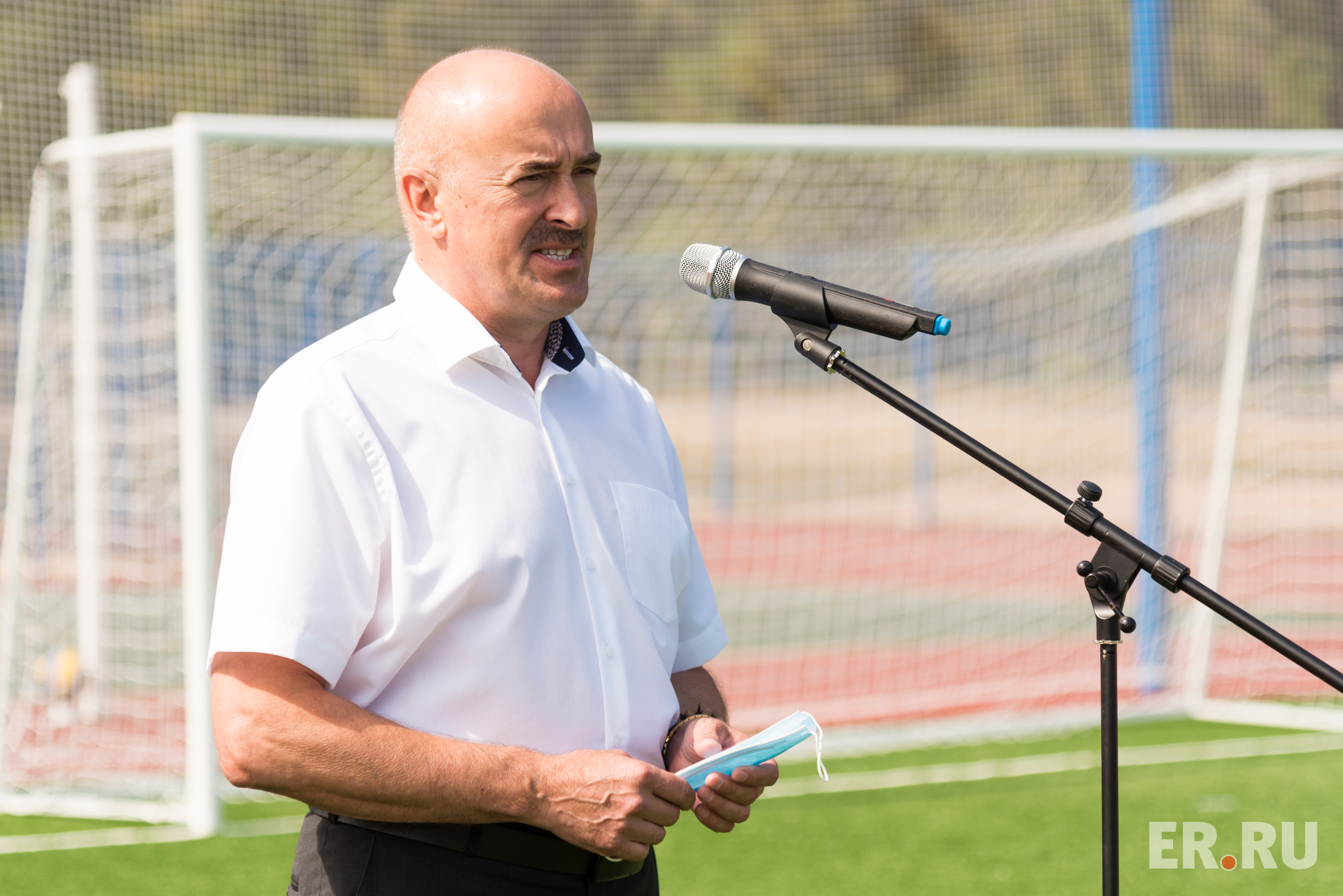 Открытие школьного стадиона в Струго-Красненском районе Псковской области
