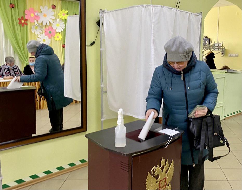 Голосование на избирательном участке в Нижней Пеше