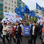 Калужские партийцы приняли участие в торжественном шествии 9 Мая