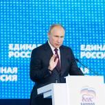 Путин выступил на пленарном заседании XIX Съезда партии «Единая Россия»