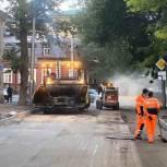 Подрядчику напомнили о необходимости своевременного вывоза строительного мусора при ремонте дорог